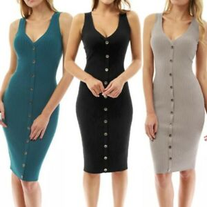 Women-Midi-Dress-Bodycon-Sleeveless-Tank-Stretch-Ribbed-Knit-Sheath-Pencil-Dress
