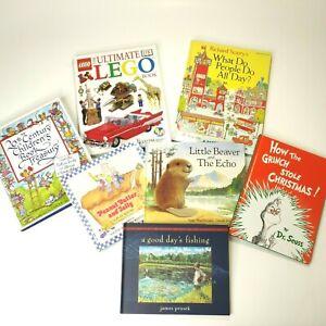 Lot-of-7-Vintage-Children-039-s-Hardcover-Books-Dr-Seuss-DK-Lego-Richard-Scarry