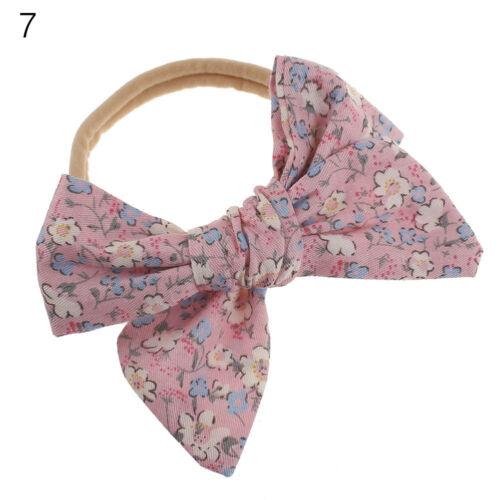 Doux Élastique Imprimé Floral BIG BOW BABY Nylon Hairband Bandeau Turban bandeau