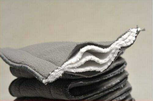 5x 5 Layer Washable Baby Cloth Diaper Microfiber Bamboo Charcoal Insert L/_D