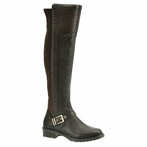 BCBG SIGMOND TALL OVER THE KNEE OAK LEATHER STRETCH ELASTIC BACK MOTO BOOTS