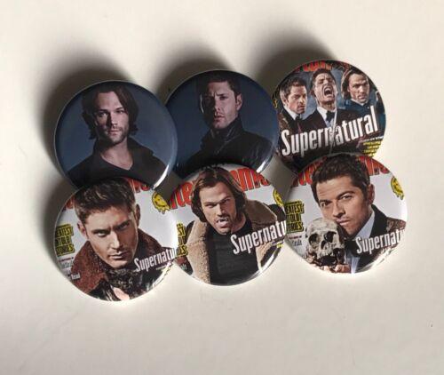 "Supernatural 1.25"" Button Set Of 6 Pins Pinbacks Jensen Ackles Jared Mischa"