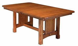 Amish Mission Craftsman Dining Table Rectangle Trestle Solid Wood Ebay