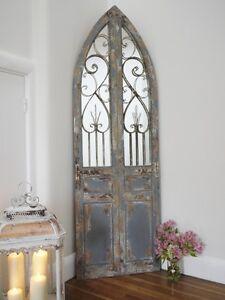 Large Decorative Gothic Arched Door Wooden Framed Garden