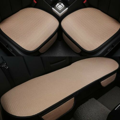 Car Seat Cover PU Leather+Ice Silk 5 Seats Cushion Front+Rear Set Beige non-slip