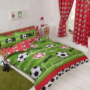 Football-Rouge-Double-Jeu-de-Housse-et-Taie-D-039-Oreiller-Couette-Chambre-Enfants