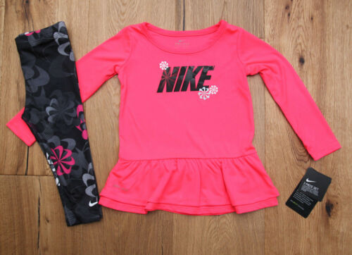 Nike Baby Girl Dri-Fit Top /& Legging Set ~ Pink Black Gray /& White ~