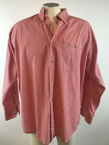 Orvis-Mens-Large-Long-Sleeve-Red-White-Gingham-Plaid-Button-Front-Shirt