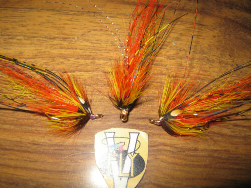 3 V Fly Size 10 In Flames Hot Orange Willie Gunn Octopus Double Salmon Flies
