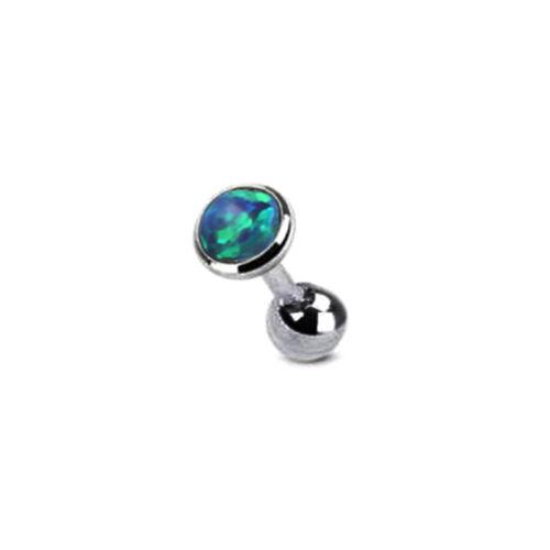 1//2X Cartilage Bar Opal Stud 16g Steel Tragus Helix Ear Barbell Earring Piercing