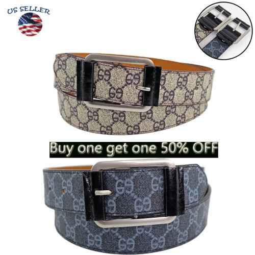 pattern Men/'s Casual Black Dress Leather Belt w// Buckle New S-XL classes Black