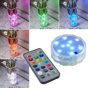 LED-Tauchlampe-wasserdicht-Batterie-Fernbedienung-Deko-Licht-Vasen-Beleuchtung