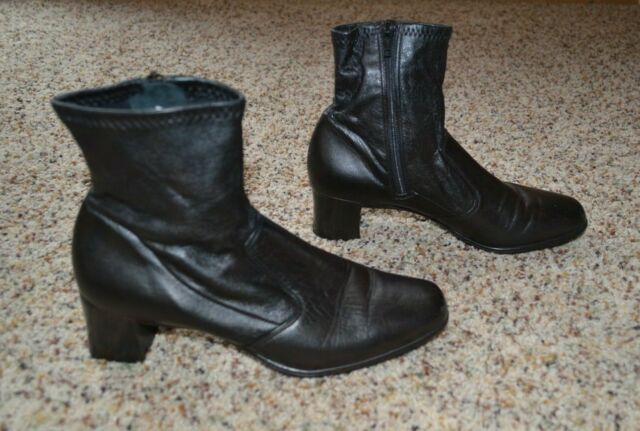 Munro American women's black leather side-zip ankle boots with 2