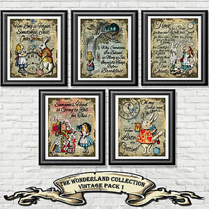 Alice-in-Wonderland-Quote-Print-Vintage-Dictionary-Page-Picture-Set-Wall-Art