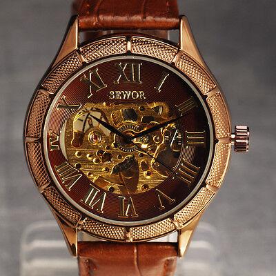 SEWOR Brand Skeleton Mechanical Watch Men Vintage Rose Golden Dial Leather Reloj