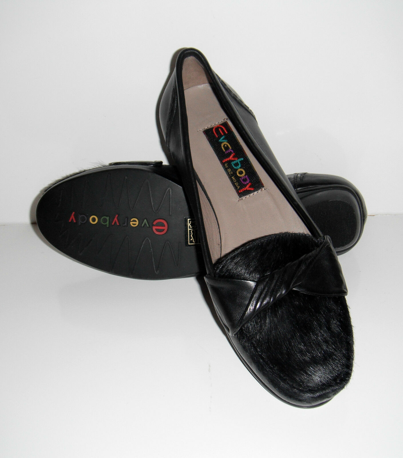 $160 NIB Black Everybody by B.Z.Moda Misto Black NIB Glove Leather Pony Hair Shoe sz 6 3c37d1
