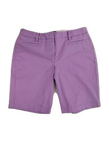 Lands End Womens Purple 10in Bermuda Shorts Stretch Fit 2 Size 6 SMALL NEW NWT