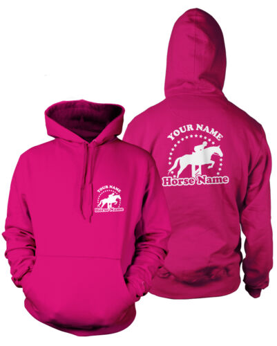 PERSONALISED HORSEY Kids HOODIE Rider/'s Name /& Horse Equestrian Jumping Tack