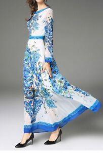 wholesale dealer 4d879 b414c Dettagli su Elegante vestito abito lungo colorato azzurro slim maniche  lunghe slim 3907