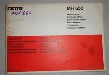 Teilekatalog / Ersatzteilliste Deutz Fahr Maishäcksler MH 600