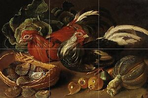 chickens fruits vegetables J. Kerckhoven Tile Mural Backsplash Marble Ceramic