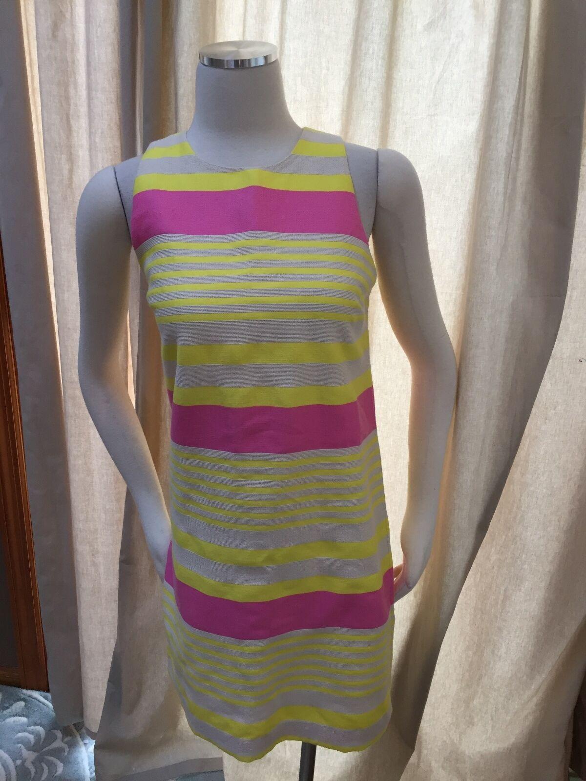 Ann Taylor Loft Pink Yellow Ivory Textured Stripe Shift Dress 0 Excellent