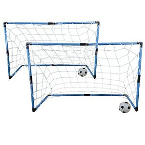 fu balltor soccer set 2x fu balltor inkl netz 2x fu ball in outdoor 4tlg ebay. Black Bedroom Furniture Sets. Home Design Ideas
