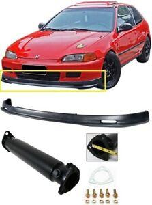 Fits 92-95 Honda Civic 2DR 3DR PU Mugen Style Front Bumper Lip + Black Test Pipe