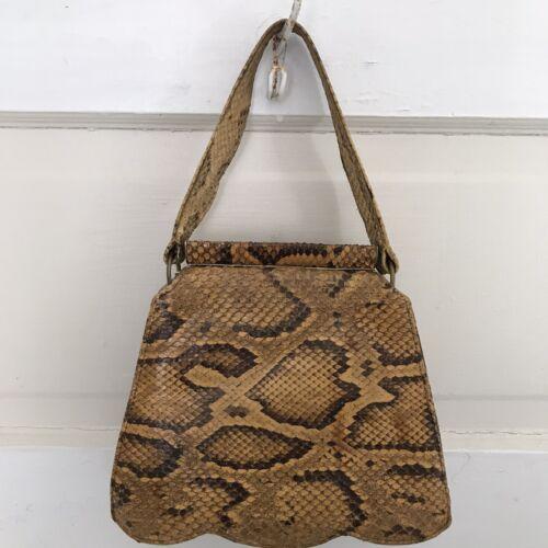 Vintage 40's Purse Faux Snakeskin Top Handle