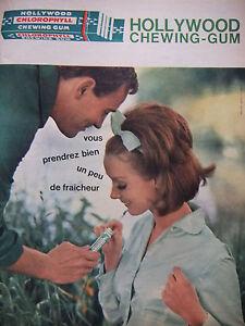 PUBLICITE-DE-PRESSE-1962-HOLLYWOOD-CHEWING-GUM-UN-PEU-DE-FRAICHEUR-ADVERTISING