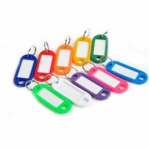 10-Porte-Cles-Etiquettes-Anneau-Fendu-Identification-Couleurs-Trousseau-Nom-NEUF