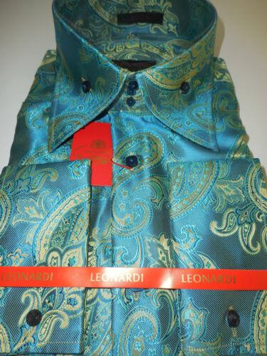 Mens Gorgeous Teal Watercolor Paisley Tall Collar Shirt Leonardi Style 440