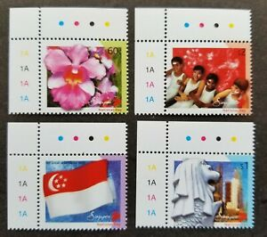 [SJ] Singapore National Day 2003 Flower Orchid Flag Tower City (stamp plate) MNH
