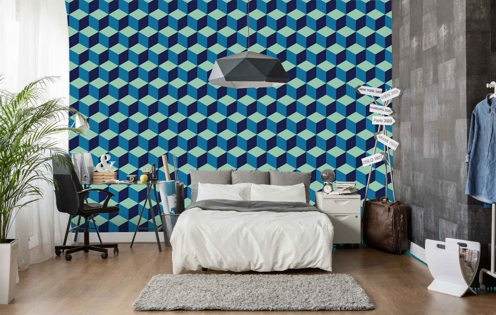 3D Cubic Blau Pattern 532 Wallpaper Murals Wall Print Wallpaper Mural AJ WALL AU