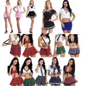 dfea0c62047 Sexy Womens Nurse Maid Student School Girl Uniform Cosplay Halloween ...