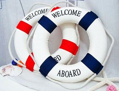 Welcome Aboard Lifebuoy Ring Preserver Nautical Boat Marine Wall Hanging Decor