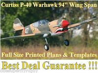 P-40 Warhawk 94 Giant Scale Rc Airplane Full Size Printed Plans & Templates