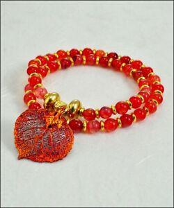 Real Leaf Metal Filigree Double Wrap Bracelet Copper Aspen Leaf Carnelian Beads