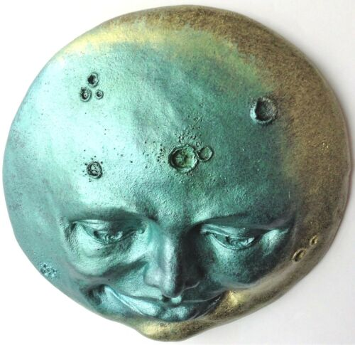 New Metallic Colors Blue Gold Full Moon Sculpture Wall Art by Claybraven