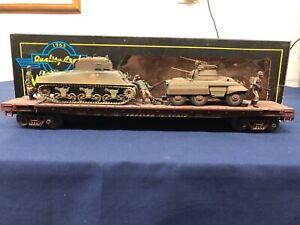 Weaver-Custom-Army-TTX-50-039-Flat-Car-w-Army-Tanks-amp-Figures-Mth-Lionel-K-line