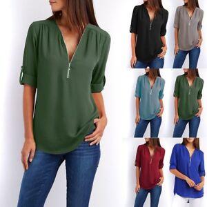 83006038669 Image is loading Fashion-Summer-Women-Casual-Chiffon-Long-Sleeve-Ladies-