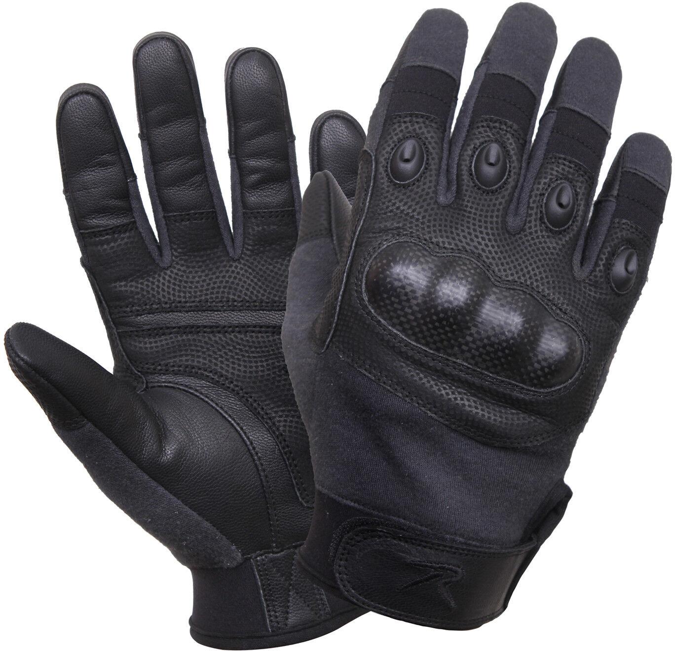 Black Carbon Fiber Hard Knuckle Gloves Tactical Cut & Fire Resistant Full Finger