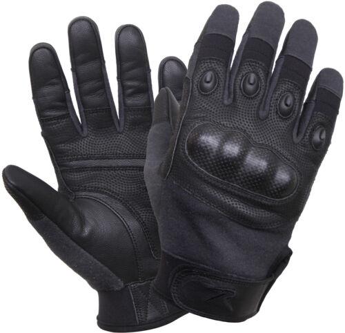 Black Carbon Fiber Hard Knuckle Gloves Tactical Cut /& Fire Resistant Full Finger