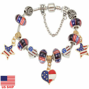 US-July-4th-Red-White-Blue-Charm-Glass-Bead-Bracelet-Patriotic-American-Flag