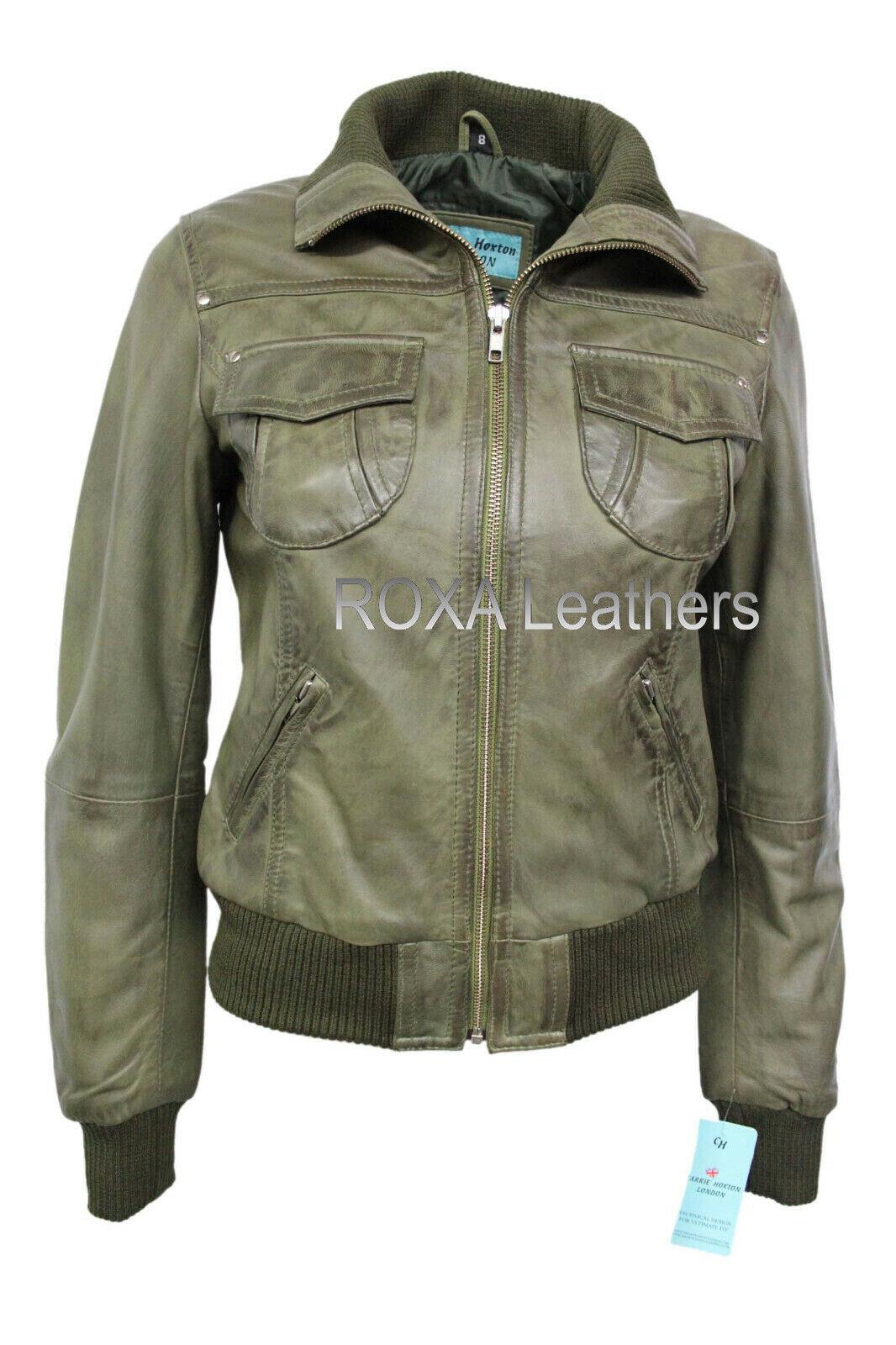 ROXA Casual Wear Women Bomber Genuine Sheepskin 100% Leather Jacket Winter Coat