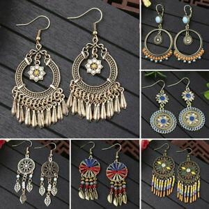 Retro-Women-Boho-Ring-Earrings-Long-Tassel-Fringe-Drop-Dangle-Ear-Stud-Jewelry