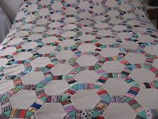 Vintage Double Knit Polyester Patchwork Quilt Top Wedding Ring 94x73