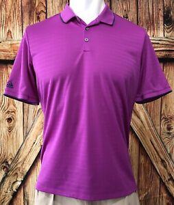 Adidas Men's XL Polo Shirt Climacool Purple Short Sleeve Polyester Golf Casual