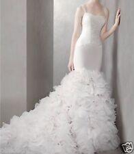 WHITE BY VERA WANG VW351136 Georgette Mermaid Gown Organza Flowered Skirt EUC