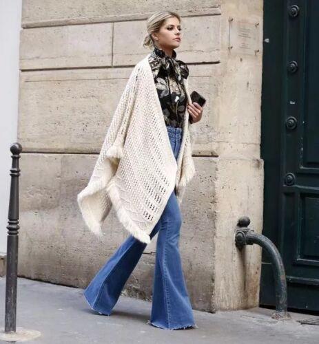 Womens Fashion Denim Jeggings Trouser Jeans Wide Leg Long Flare Bell Bottom Pant